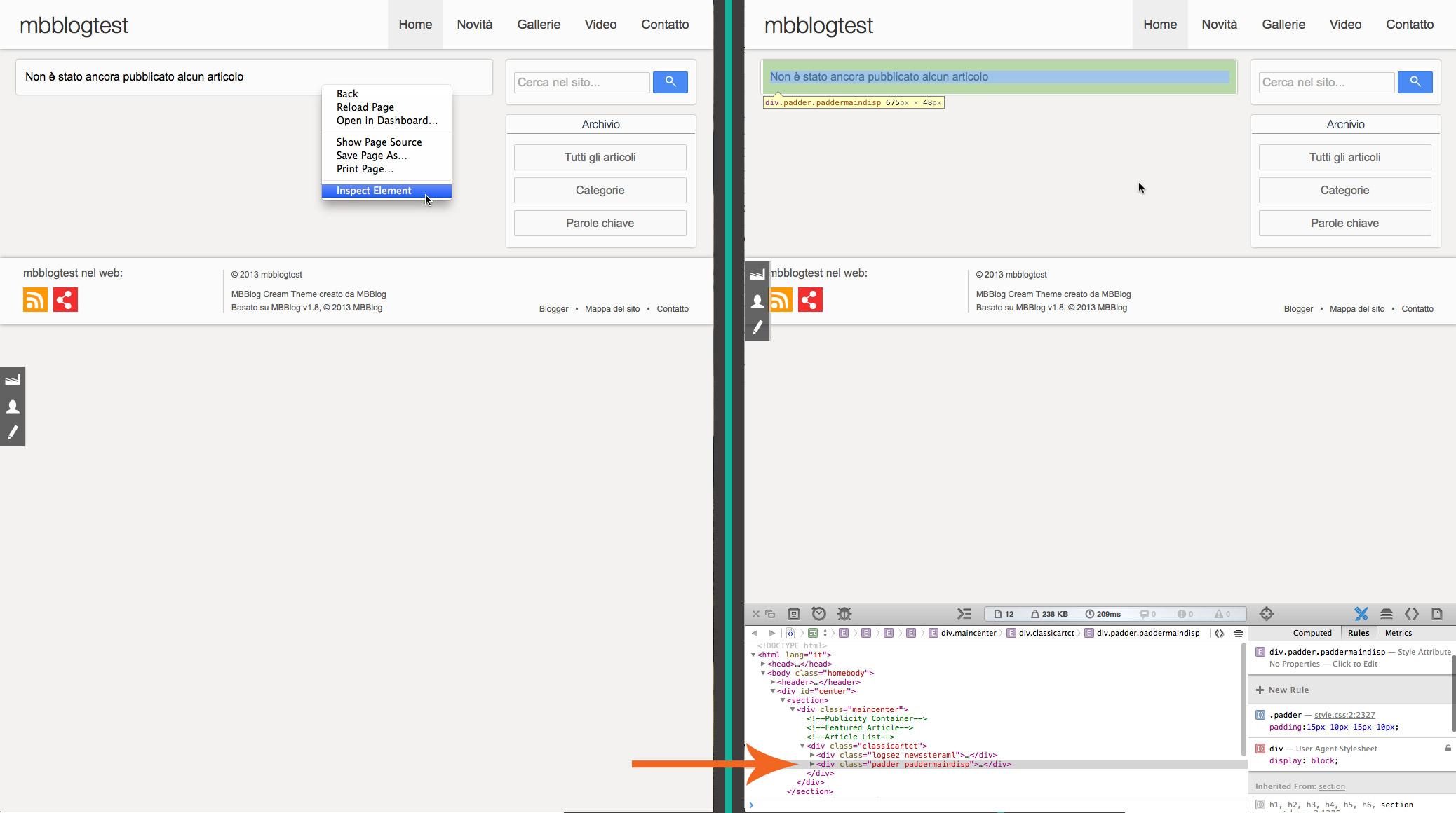 Ispezionare una classe CSS - Tutorial MBBlog